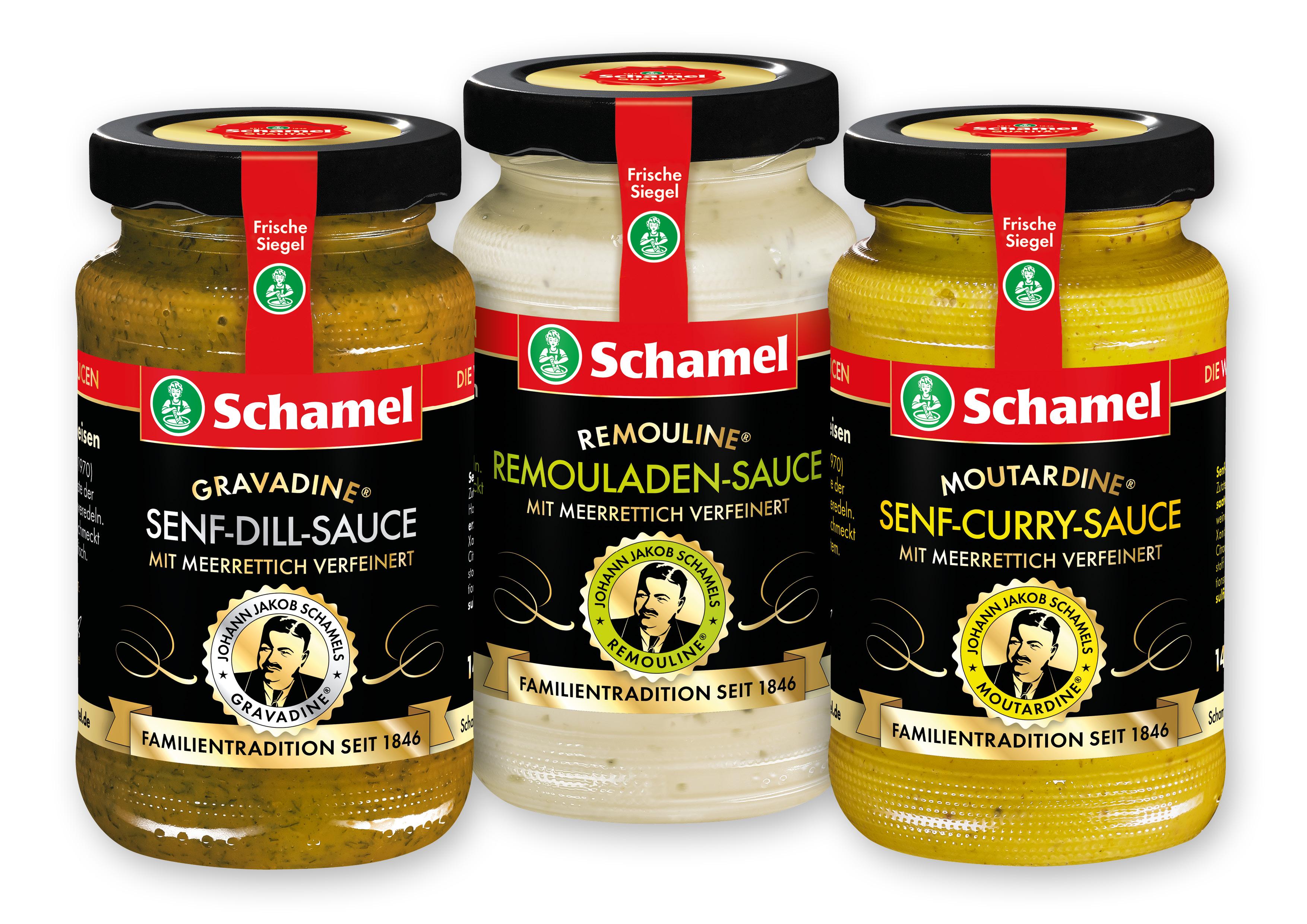 """Feine Sache, feine Saucen! Die gibt es nun auch als """"Remouline®"""" und """"Moutardine®""""."""