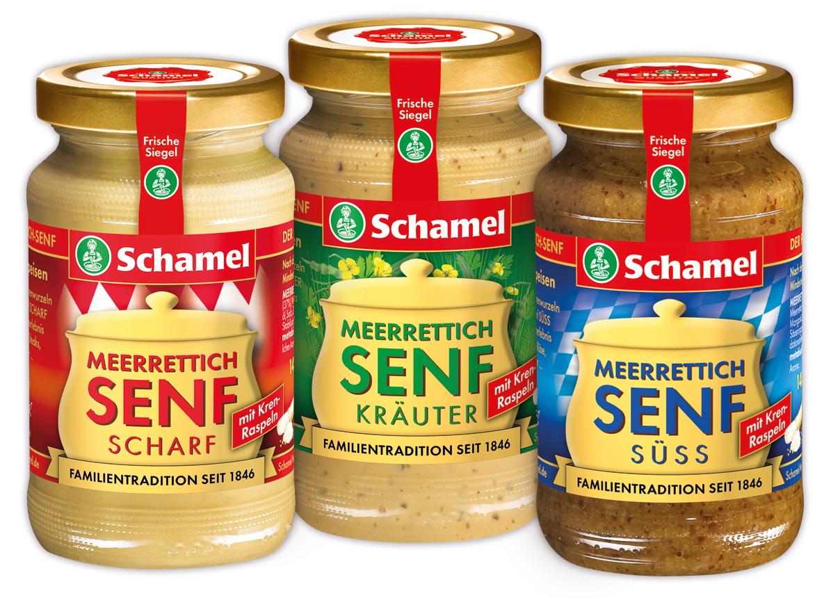 Schamel Meerrettich-Feinkost hat nun auch Meerrettich-Senf mit ganzen Krenraspeln im Sortiment.