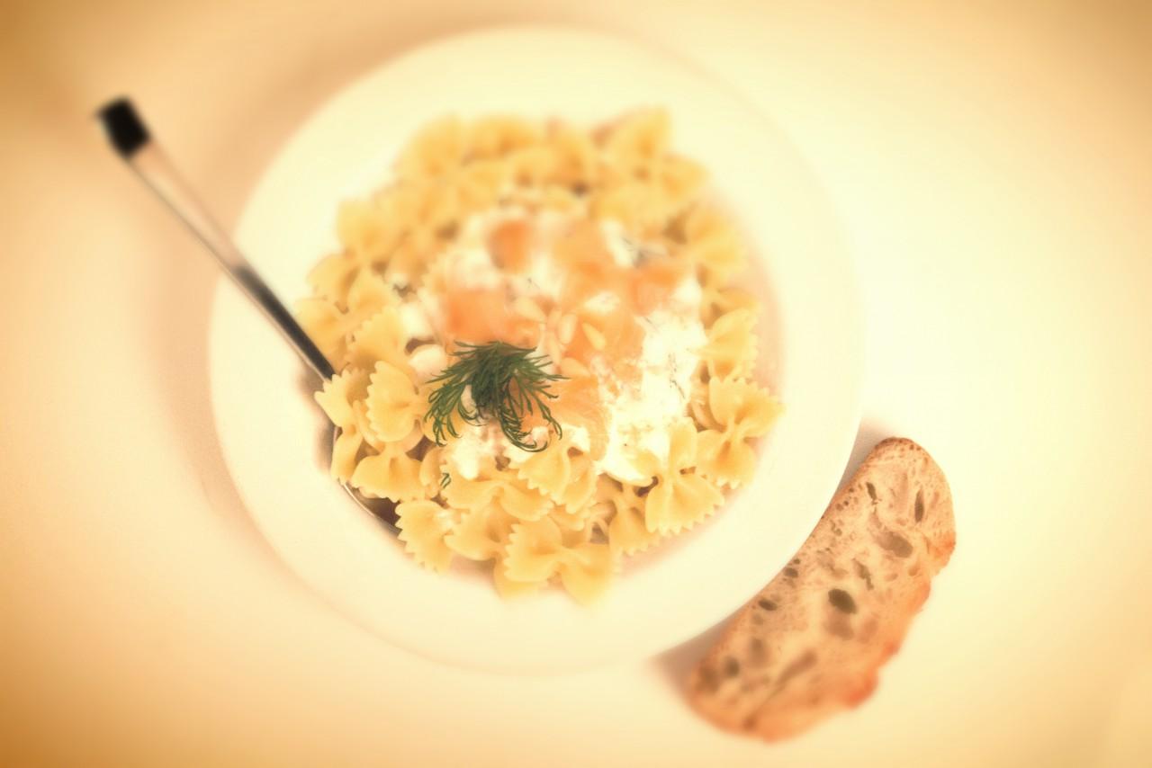 Der Hauptgang: Pasta mit Lachs-Meerrettich-Soße.