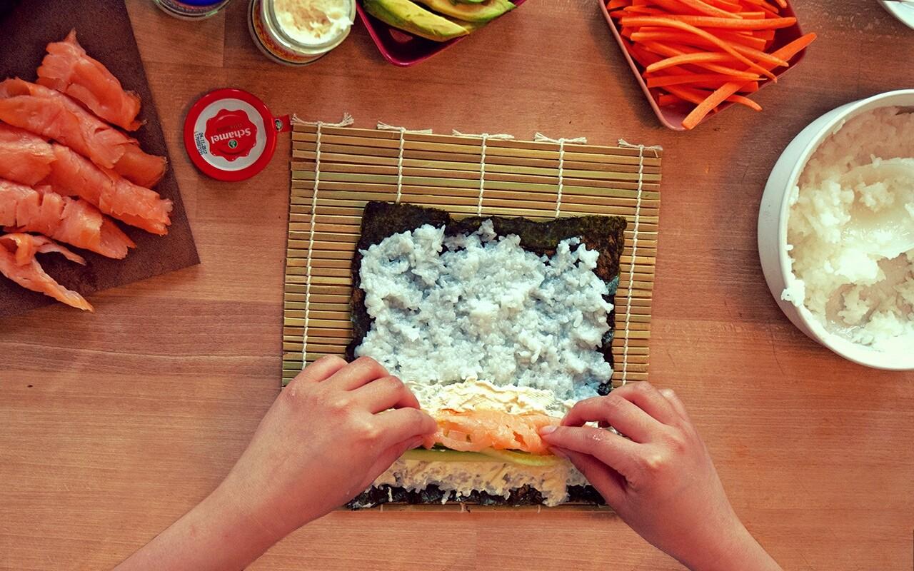 Bayerisches Sushi mit Lachs